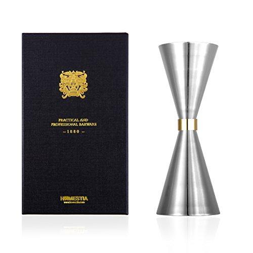 Homestia Double Jigger Liquor Shot Japanese Style 1.5-2.0 oz, Silver
