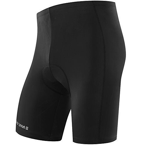 NOOYME Men's Cycling Shorts with 3D Padded Jet Black with Color Block Design Bike Shorts