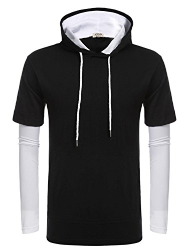 Long Hooded Sleeve Layered T-shirt (Hotouch Mens Hipster Hip Hop Long Sleeve Longline Pullover Hoodies Shirts (Black L))