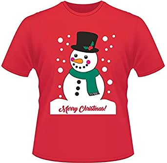 Merry Christmas snowman printing loose Women's clothing Cotton T-shirt