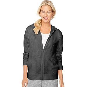 Hanes Women`s Slub Jersey Full-Zip Hoodie, 9328, S, Black