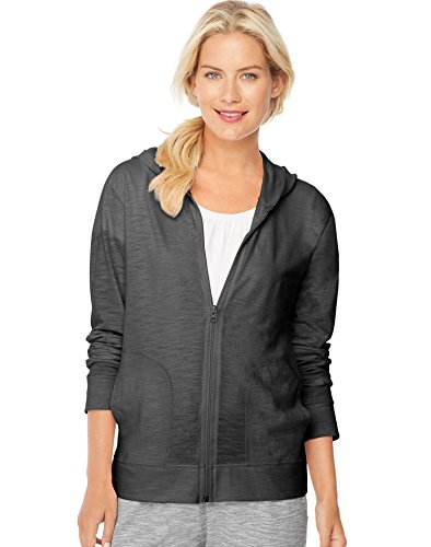 Hanes Women`s Slub Jersey Full-Zip Hoodie, 9328, 2XL, Black