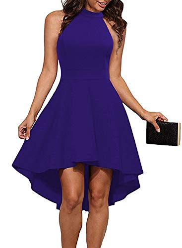 THANTH Womens Dresses Halter Neck Sleeveless Backless High Low Cocktail Skater Dress RoyalBlue XL