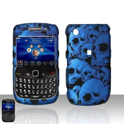 Blue Skull Rubberized Snap on Hard Skin Faceplate Cover Case for Blackberry Curve 8520 8530