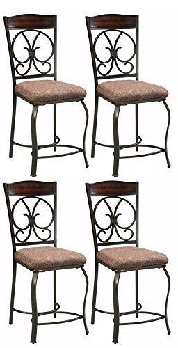 Ashley Furniture Signature Design – Glambrey Barstool Set – Counter Height – Traditional and Upholstered – Set of 4 – Brown