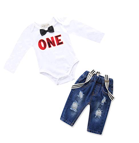 Toddler Baby Boy Clothes Set Bowtie Romper Suspenders Ripped Denim Pants Outfits (White2, 70/Fit 0-6 Months) -