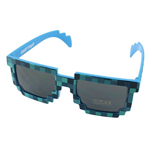 EnderToys Pixel Kids Sunglasses Blue, Novelty Retro Gamer Geek Glasses for Boys and Girls Ages 6 ()