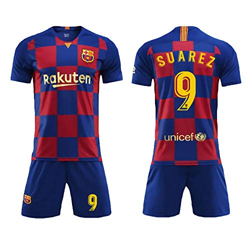 Barcelona Home, Plaid Jersey, Barcelona 10 Messi, Sports Football Suit, Children/Adults-Suarez-S