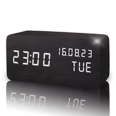 Yxx max Bracket Clock Clock LED Cube Wood Desktop Clock Bedroom Living Room Fireplace Clock Home Outdoor