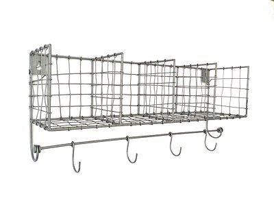 Well-known Locker Room Silver Wire Shelves Storage Baskets 4 Hooks Kitchen  SM45