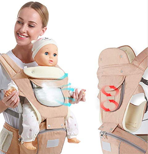 Best Price Ergonomic Baby Hip Seat Carrier Baby Waist Stool for Newborn Child Infant Toddler with Cool Air Mesh Windproof Babyhood Comfortable Insert (Khaki)