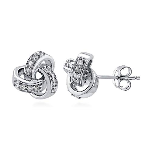 (BERRICLE Rhodium Plated Sterling Silver Cubic Zirconia CZ Love Knot Wedding Stud Earrings)