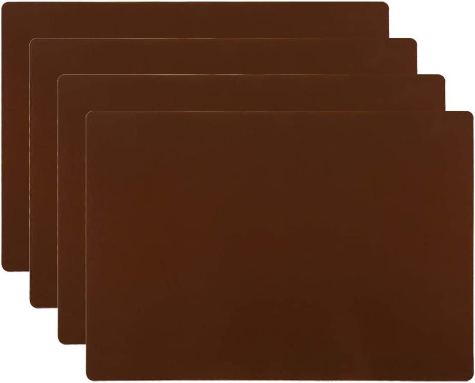 """HomeDo 4Pack Waterproof Silicone Placemats, Non-Stick Baking Mat, Non-Slip Dining Placemat for Kids, Heat Resistant Insulation Countertop Protector Pads, Thicken (Coffee-4pcs, 15.75""""x11.81"""")"""