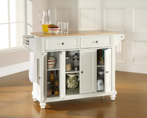 Crosley Furniture Cambridge Kitchen Island with Natural Wood Top - White by Crosley Furniture (Image #4)