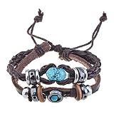 Handmade Vintage Multi Strand Blue Amber Bead Charm Leather Wrap Bracelet Adjustable Size for Women and Men