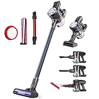 Dibea Upgrade 24KPa Cordless Stick Vacuum Cleaner Powerful Suction Bagless Lightweight Rechargeable 5 in 1 Handheld Car Vacuum for Carpet Hard Floor, Navy Blue D18Pro