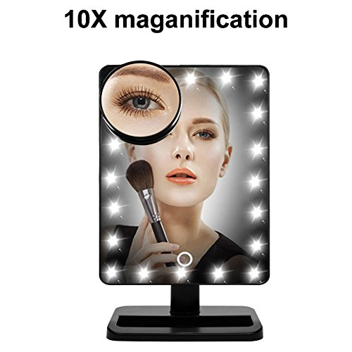 WanEway Makeup Mirror with 20 LED Light, 12-Inch Large Screen, Touch Dimmable and Memory Function, Black on sale