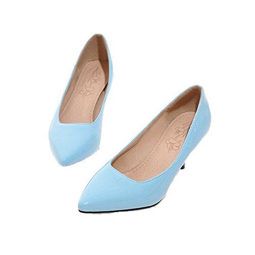 Flats Maiale Pelle FBUIDD006827 di AllhqFashion Solid Tacco Medio Azzurro Tirare Donna Ballet atqwz
