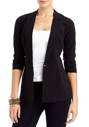 2B Seema Ruched Sleeve Blazer 2b Jackets Blk-xxs