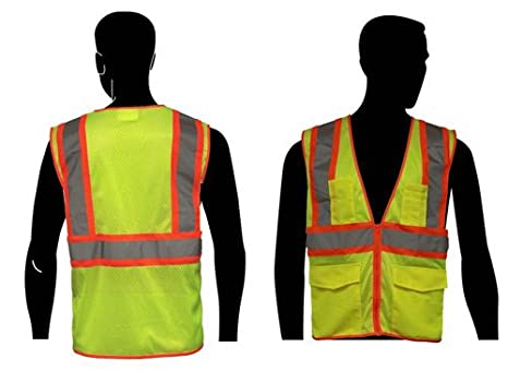 Liberty HiVizGard Polyester All Mesh Class 2 Safety Vest with 2 Wide Silver Reflective Stripes and Multiple Pockets Liberty Glove & Safety