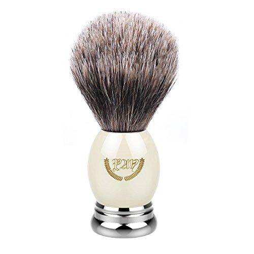 (Shaving Brush,Badger Hair Shave Brush Kit,Natural Bristles with Heavy Metal Base + Faux Ivory,Mens Grooming Tool Lathering Shave Cream or Soap - Home or Travel, Wet-Shaving Brush for Men Razors)