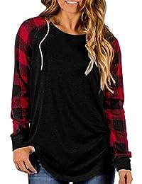 Womens Buffalo Plaid Shirts Round Neck Pattern Raglan Pullover Casual Long Sleeve Tops