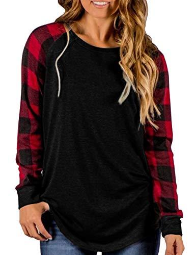 Plaid Tee Womens - Aifer Womens Round Neck Raglan Top Summer Causal Color Block Short Sleeve T-Shirt