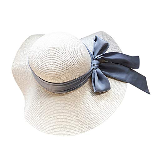 BCDshop Women Straw Sun Hat Wide Brim Foldable Floppy Cap Travel Holiday Beach Cap with Ribbon (White)