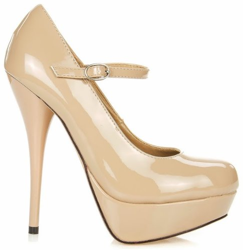JJF Shoes N16 Nude Patent Leather Mary-Jane Ankle Strap Platform Stiletto High Heel Pump Shoes-9 -