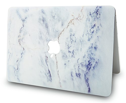 """KECC Laptop Case for Old MacBook Pro 13"""" Retina (-2015) w/Keyboard Cover Plastic Hard Shell Case A1502/A1425 + Screen Protector 3 in 1 Bundle (White Marble 3)"""