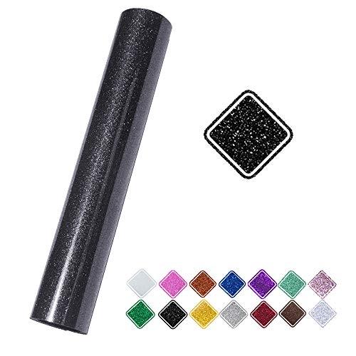 VINYL FROG Glitter 0.8x5ft Black Heat Transfer Vinyl Roll(HTV) T-shirt Clothing Garment Bags (9.8