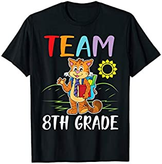 Cat Student Senior Teacher Team 8th Grade Happy School T-shirt | Size S - 5XL