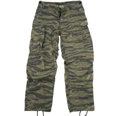 Camouflage Cargo Pants Tiger Stripe Camo Vintage Fatigue Pants(LRG) (Tiger Stripe Fatigue Pants)