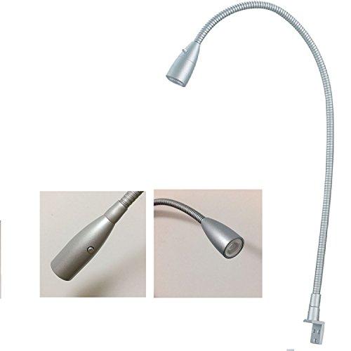 White Gooseneck (Cree led Wall Light 3w Warm White 500mm Gooseneck Arm UL list 120v Plug Matt Black Switch on Head)
