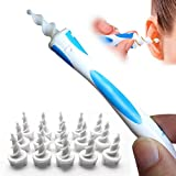 Earwax Removal Tool Smart q Grips Ear Cleaner Spiral Ear Wax Remover Swab Kit with 16 pcs Spiral Tips Safe and Gentle Ear Care Kit Soft (blue)