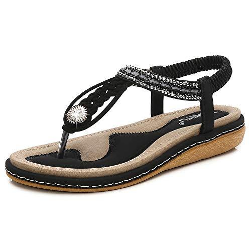SAIJING Women's Comfy Flat Thong Sandals BohemianSlip on Flip Flop T-StrapSandal Glitter RhinestoneSummer Beach Dress Shoes with Elastic Slingback Black Size 6