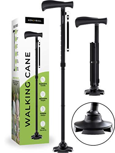 HONEYBULL Walking Cane for Men & Women | Free Standing, Foldable, Pivot Tip