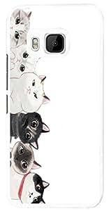1166 - Cute Multi Cats Faces Fun Design For htc One M8 Fashion Trend CASE Back COVER Plastic&Thin Metal - White