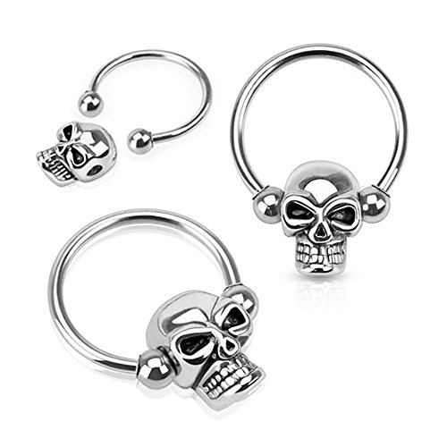 West Coast Jewelry {16 GA - 3mm Ball} Skull Bead 316L Surgical Steel Captive Bead Ring (Sold Ind.) ()