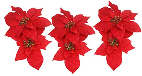 Poinsettia Clip On Christmas Ornaments, 6 Pack