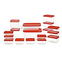 All Time Polka Plastic Container Set, 6.5 Litre, Set of 17, Red