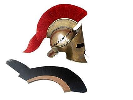 Co Casco espartano con pluma roja, diseño de King Leonidas de 300
