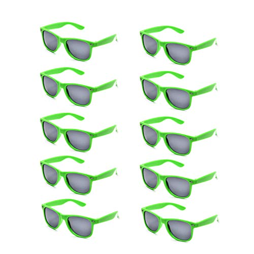 10 Packs Adult and Kids Neon Colors 80's Retro Style Sunglasses (Adult Green) -