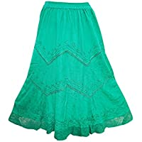 Womens Gypsy Boho Skirt Green V Laced Maxi Long Skirts