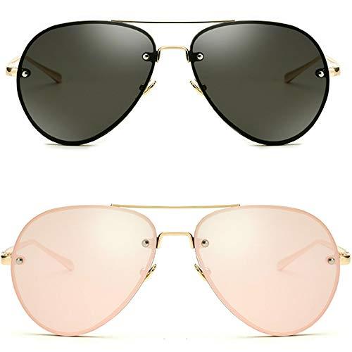 Oversized Aviator Sunglasses Vintage Retro Gold Metal Frame Colorful Lenses 62mm (2 Pack: Black + Reflective Pink, 62MM)