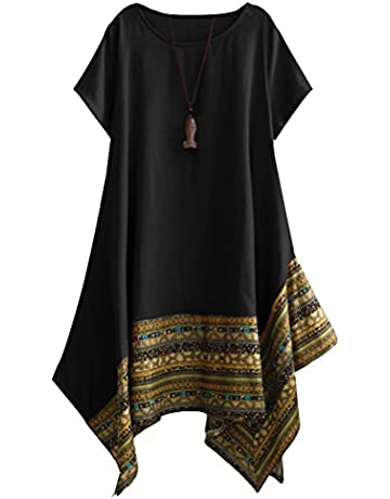 f84664348e4 Vogstyle Women s Summer Cotton Linen Short Sleeve Tee Shirt Dress Irregular  Hem Tunic Black XL. Upcoming Deal