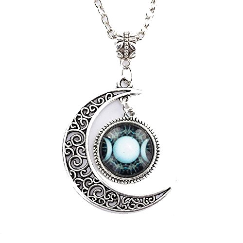 Grenf® Fashion Full Moon Necklace Glass Art Picture Triple Goddess Pendant, Wiccan Jewelry, Moon Goddess Jewelry, Wiccan Charm Necklace Hollow Moon Time Gems Shape Pendant (Sky Moon Gemstone - 1)