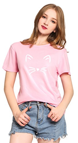 Womens Cat Pink T-shirt - PINJIA Womens Cute Letter Printed Graphic Funny CAT FACE Tshirts Top Tees(MX15)(XXL, Pink Cat)
