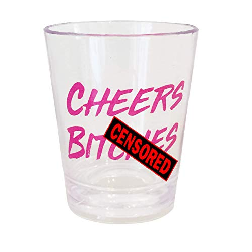 Funny Party Shot Glasses - Pack Of 10 Transparent With Pink Text Perfect For Bachelorette Parties, Christmas & Birthday's - Jager Bomb - Jello Shot