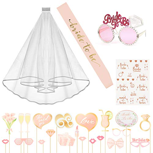 N&T NIETING Bachelorette Party Bride Decoration Accessories Kit, Bride to be Sash, Bridal Veil with Comb, Sunglasses, Rose Gold Tattoos, Photo Booth Props for Bridal Showr Hen Night Party Supplies -